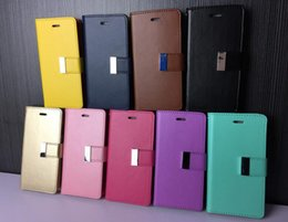 Wholesale Iphone Mercury Cases - S7 Edge Goospery Mercury Rich Diary Wallet PU Leather Case Inner TPU With Card Slots Side Pocket for LG G5 K10 HTC