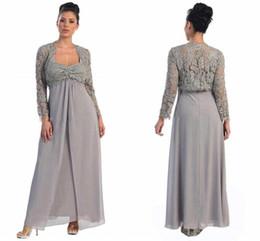 2016 плюс размер с курткой мать невесты платья кружева топ с длинным рукавом милая шеи длиной до пола серый шифон вечернее платье от