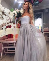 Wholesale Blue Strapless Beaded Prom Dresses - 2018 New Silvery Gray Strapless Tulle A Line Prom Dresses Beaded Stones Floor Length Formal Party Guest Evening Dresses