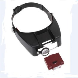 Wholesale Helmet Magnifying Glass - New Design Helmet Style Magnifier Magnifying Glasses with LED lights Reading or Repair Use Free Shipping