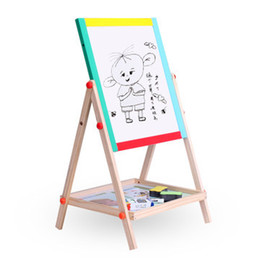 Wholesale Toy Blackboards - children sketchpad work the blackboard magnetic double wooden panel Graffiti drawing board toys learning educational toys toys for children
