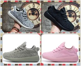 Wholesale Sneakers For Children - High Quality 350 Boost SPLY 350 Boost V2 Shoes For Boys and Girls Kids Trainers Black Grey Children Sneakers Sports Shoes Size 28-35