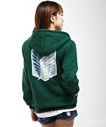 Wholesale Attack Titan Sweater - Hot sell New Green Anime Attack on Titan Cosplay Hoodie Scouting Legion Hooded Sweater free shipping