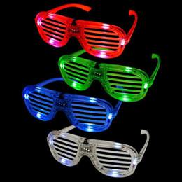 Wholesale Retail Christmas Decorations - Fashion Shutters Shape LED Flashing Glasses Light Up kids Toys Christmas Party Supplies Decoration Glowing Glasses Retail Packaging