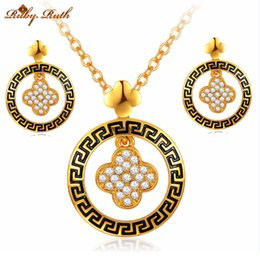 Wholesale African Costume Jewellery Sets - Ruby.Ruth jewelry sets african bridal 18k gold platinum necklace earrings wedding jewellery sieraden women crystal costume fashion set