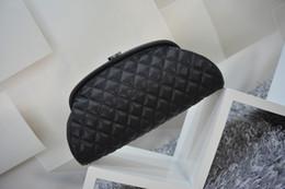Wholesale Shaped Clutch - Free shipping! New women's leather clutch 100% high quality caviar grain dumplings bag Classic diamond shape phone bag cosmetic bag
