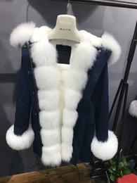 Wholesale Cuffs Pink - Mr & Mrs 2018 Women's Cotton Canvas Long Parkas Luxurious Large Fox Fur Collar and Cuffs ,rabbit furs lining
