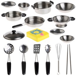 Wholesale Metal Toy Pots - Wholesale- 20 PCS Stainless Steel Pots Pans Cookware Miniature Toy Pretend Play Gift For Kid W30