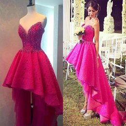 Wholesale Sweetheart High Low Homecoming Dresses - Fuchsia Beaded Lace High Low Homecoming Dresses Formal Evening Dresses A Line Sweetheart Princess Prom Party Gowns Sexy Backless