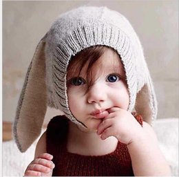 Wholesale Long Black Rabbit Ears - 4 Color INS Autumn Winter Toddler Infant Knitted Baby crochet Hats Adorable Rabbit Long Ear Hat Baby Bunny Beanie Caps Photo Props