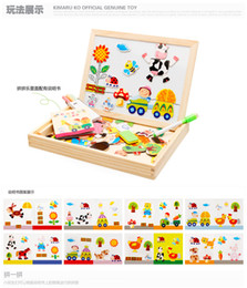 Wholesale Kid Toy Animal Jigsaw - Multifunctional Educational Animal Wooden Magnetic Puzzle Toys for Children Kids Jigsaw Baby's Drawing Easel Board ZD020
