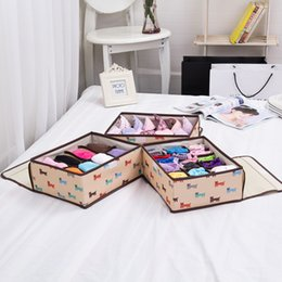 Wholesale Folding Closet Organizer - 3PCS Sets Beige Dog Home Storage Supply Storage Box Ties Socks Shorts Bra Underwear Storage Bins Cube Divider Closet Organizer