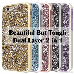 Wholesale Premium Diamonds - Premium bling 2 in 1 Luxury diamond rhinestone glitter back cover phone cases For iphone 7 5 6 6s plus case Package available