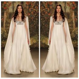 Wholesale Sparkling Bridal Gowns - 2017 New Style Jenny Packham Chiffon Wedding Dresses Sparkling Beaded Crystals Empire Maternity Bridal Gowns Vintage Vestidos De Novia Wrap