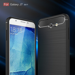 Wholesale Galaxy Skin Back Cover Cases - Carbon Fiber Case For Samsung Galaxy J3 Prime J3 2017 Emerge J7 US Version Brushed Silicone Soft Rubber Back Cover Slim Armor Rugged Skin