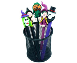 Wholesale Pottery Decorations - Halloween decorations Ball pen Face pen Pumpkin lantern skeleton head gost face pen Painted pottery pen Halloween gifts in stock