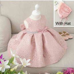 Wholesale Princess Birthday Hats - Latest set of one year old baby girl baptism dresses princess wedding vestidos tutu 2016 baby girl christening gown with hat