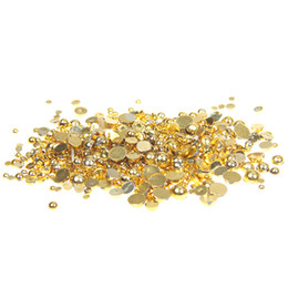 Wholesale 5mm Craft Beads - Gold Color Half Round Resin Pearls 1000 500pcs 2-5mm And Mixed Sizes Flatback Glue On Craft Beads DIY Nails Art Jewelry Supplies