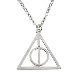 Wholesale Only Chain Necklace - Deathly Hallows Pendant Necklace Long Chain Retro Triangle Necklaces Rotatable Resurrection Stone Unisex Luna Harry Potter Necklace SA Only