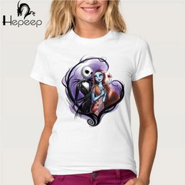 Wholesale Girls Jack - Wholesale- Nightmare before christmas jack and sally corpse bride print T-shirt Women's Heart-shaped design short sleeve girl tops fun tees