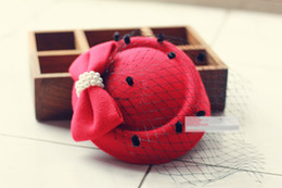 Wholesale Nets Wool Winter Hats - Hot Lady Girl Lovely Hair Clip Bowknot Beret Hat Fascinator Hair Clip Net Pillbox Hat Fascinator Hair Clip Accessory Flower Cap