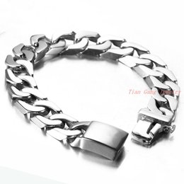 Wholesale Friendship Bracelet Designs - New Arrival Mens Chain Link Bracelets Fashion Smooth Design Stainless Steel Vintage Men Friendship Wristband