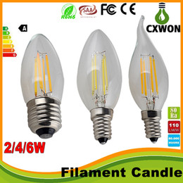 Wholesale High E12 Dimmable Led Candle - led lights Edison Filament Dimmable Led Candle Lamp 2W 4W 6W E14 E12 Led Bulbs Light High Bright led lamp e27 candle light