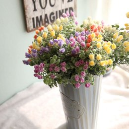 2019 flores flocadas 32 cm Milão Bayberry Ramo Com Flocagem Artifcial Folhas planta Flor de parede decoração de Casamento Estilo Rural Em Vasos De Plantas flores flocadas barato