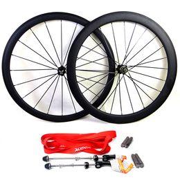 Wholesale Wheel Carbon 26 - Carbon road bike wheels front wheel 38mm and rear wheel 50mm clincher tubular bicycle wheelset basalt brake surface 700c clear coat 3K matte