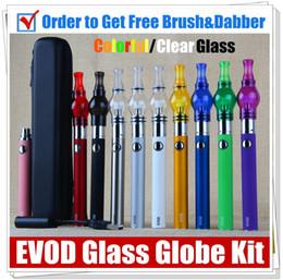 Wholesale Herb Vapes - EVOD herbal wee vaporizer Glass Globe dry herb vapors wax kit electronic cigarette battery starter kits UGO Passthrough dab pen kits vapes