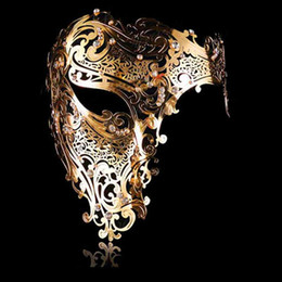 Wholesale Masks Filigree - Party Masks Fashion Cosplay Halloween Mask Black Silver Rhinestone Phantom Metal Filigree Venetian Party Mask Gold Red Half Face Mask