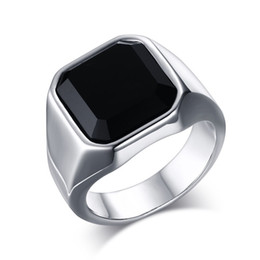 Wholesale Mens Celtic Wedding Bands - Stainless Steel High Polished Black Agate Mens Ring Fashion Jewelry Rings Accessories Silver Size 8-12