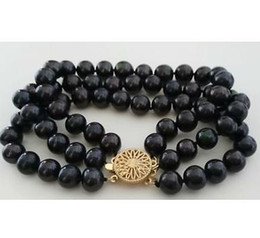 Wholesale Strands Tahitian Black Pearls - Noble triple strands 8-9mm natural tahitian black pearl bracelet 7.5-8inch 14k gold clasp