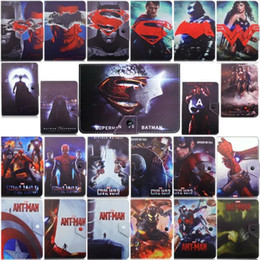 Wholesale Tablet Avengers - Fashion Cartoon Spider Man Batman Superman Stand The Avengers PU Leather Cases Smart Cover For iPad 2 3 4 5 Air iPad mini 1 2 3 Tablet Cover