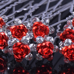 Wholesale Wholesale Rhinestone Hair Clip Wedding - Wholesale-20pcs Rose shaped Women wedding hair accessories Crystal Flower Hair Jewelry Rhinestone Hair Clips Pins Accessories H-6+1