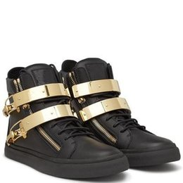 Wholesale Metal Help - new hot sales zanottys genuine leather High help metal buckle fashion men and women casual shoes,High help leisure shoes size 35-46