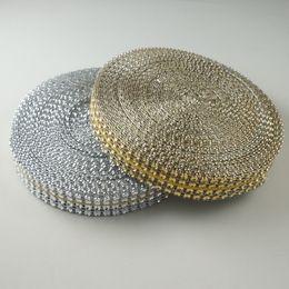 "Wholesale Silver Diamond Rhinestone Ribbon Wrap - (3 4"")20mm Gold Silver Acrylic bling (looks like Rhinestone) Diamond Wedding Party Cake Mesh Wrap Trim Ribbon Banding 10 Yards"