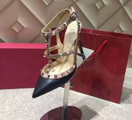 Wholesale Red Patent High Heel Platform - 2017 of the latest fashion valentine Black, bare, red Sheepskin leather 2 belts platform pump high-heeled shoes