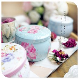 Wholesale Tin Cans For Gifts - Portable Drum shaped tin boxes flower tea container cans for party gifts package 100pcs lot wholesale free shippin