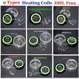 Wholesale Flat Resistance Wire - DHL Free Alien Fused Clapton Flat Mix Twisted Hive Quad Tiger Heating Wires 9 Different Types Premade Wrap Resistance Wire Coils for RDA RBA