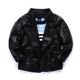 Wholesale Big Boys Coats - Cool 2016 boys kids coat Quality locomotive PU leather jacket Rivets big collar handsome children Autumn winter jackets outwear wholesale
