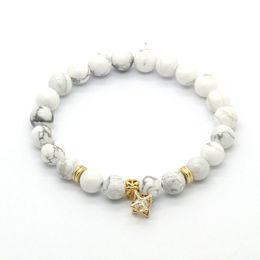 Wholesale gold lucky charm bracelet - Diamond Bracelet Wholesale 10ps lot High Quality CZ Beads Charm Lucky Bracelets Party Gift with 8mm White Howlite Stone Beads