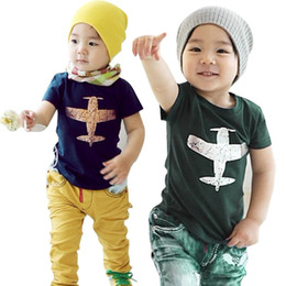 Wholesale Girls Plane T Shirt - PrettyBaby child clothing children tops tees boys short sleeve t shirts girls t shirts plane cartoon aircraft shirt free shipping