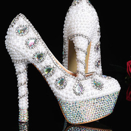 Wholesale Crystal Heels For Sale - Hot sale Bridal Dress Shoes elegant women fashion crystal pearl high heel wedding shoes for bride sexy party dress shoes