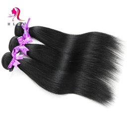 Wholesale Cheap Hair Extensions Fast Shipping - Clearance Jet-Black Cheap Peruvian Virgin Remy Hair Extension Natural Wavy Peruvian Straight Hair Black Color #1B Free DHL FAST Shipping