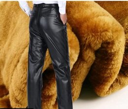 Wholesale Plus Size Faux Leather Pants - Men business Elasticity leather pants new arrival cotton Winter cashmere Super thick waterproof handsome cool motorcycle leather pants