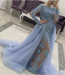 Elegant Long Sleeves Robes de soirée avec jupe détachable Sexy illusion Robe de bal Graceful Crystal Applique Lace Evening Gowns ? partir de fabricateur
