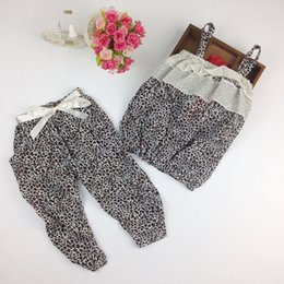 Wholesale Kids Leopard Trousers - kids leopard dress girls condole belt sets summer clothes cotton two pieces clothes children trousers leisure wear baby wear sets H00009