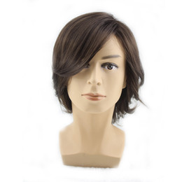 Wholesale Synthetic Wigs For Men - WoodFestival short dark brown wigs for handsome man high quality men wigs natural hair wigs synthetic short cosplay male fiber hair