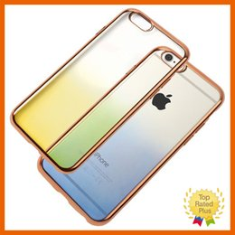 Wholesale Electroplating Battery - Ombre iPhone 5 SE 6 6s plus Rainbow Shadow Crystal Clear Case Electroplate Ultra-Thin Transparent Soft TPU Cases